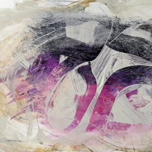 abstract work with purple and black background overlaid with white strokes