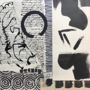 black text, writing, spirals and shapes