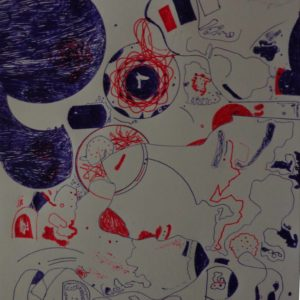 Drawing of abstract amorphic images in red, blue and black pens