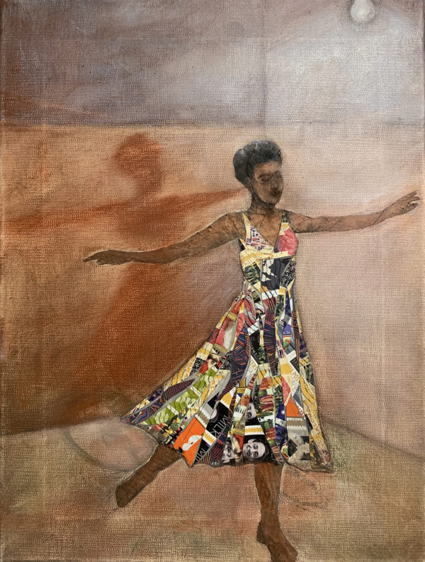 image of a black woam in a colorful midi sleeveless dress with her arms outstretched
