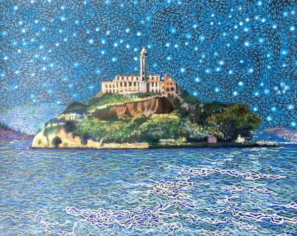 Alcatraz on a starry night. Blue waters arounxd the island and a dark blue starry sky in the background