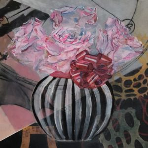 zebra striped vase with flower and a bow on a background of layered surfaces of pink and leopard spots