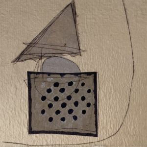 geometric shapes representing a boat in grey on a tan background