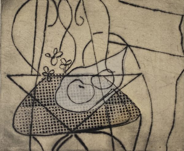 expressionistic image of a garden chair in black on a tan background