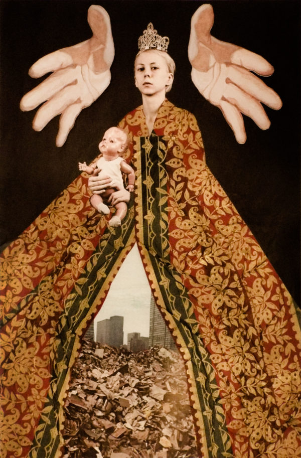 a regal person in a decorated brown robe, with rubble and buildings peaking out of the bottom, a baby floating near the head of the person and two hands open palmed on either side of the head