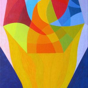 colorful geometric shapes making a club like shape with a dark blue background