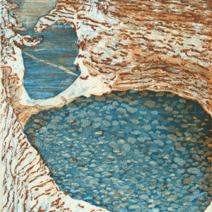 abstract expressionist work depicting water and land