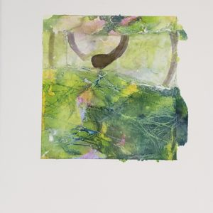 abstract expressionist green with specs of pink
