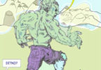 """Drawn cartoon of the Hulk standing on a rock with mountains behind him asking """"Jack Kirby I presume? in a speech bubble"""