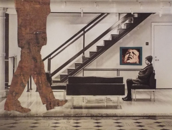 digital photograph of a oversized person walking (showing torso and legs) in a room with sofa, chairs a painting and staircase