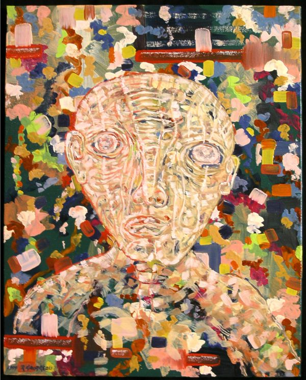expressionist portrait made up of small colored clocks