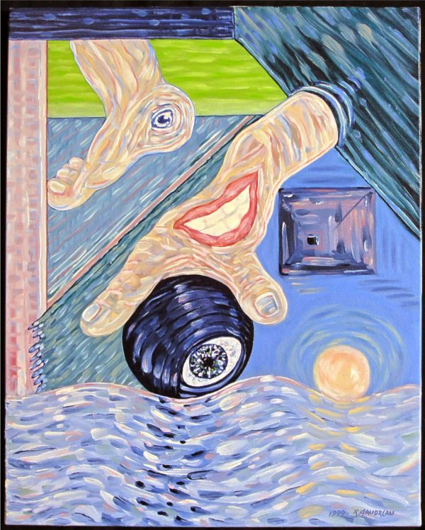 expressionist image with a foot, hand, ball with an eye, another ball on water and block