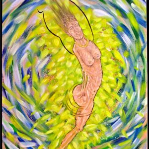 expressionistic image of a naked woman without arms and one leg with a swirling yellow, green and blue background